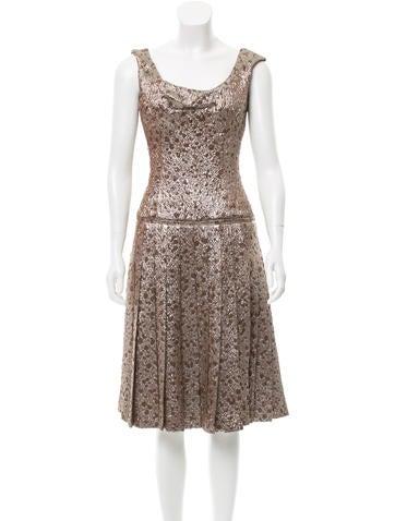 Carolina Herrera Metallic Jacquard Dress None