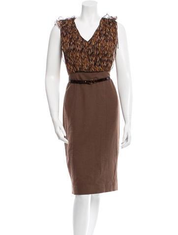 Carolina Herrera Belted Wool Dress None