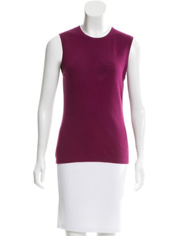 Carolina Herrera Cashmere & Silk-Blend Sleeveless Sweater None