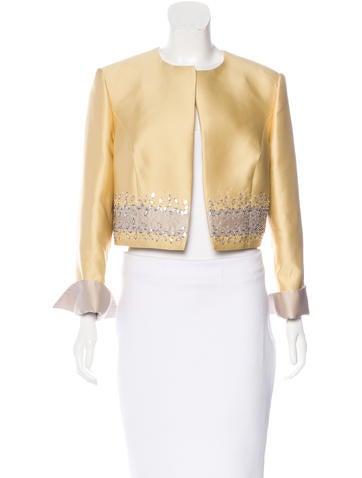 Carolina Herrera Embellished Silk-Blend Jacket w/ Tags None