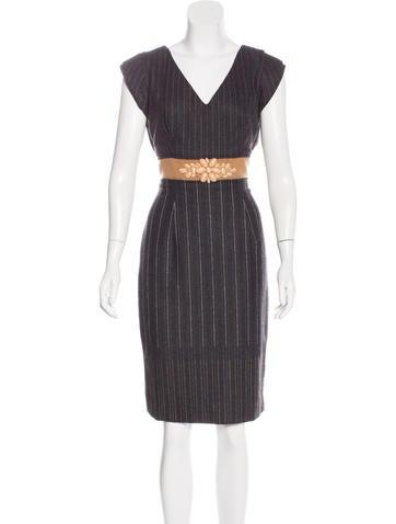 Carolina Herrera Wool Pinstripe Dress None
