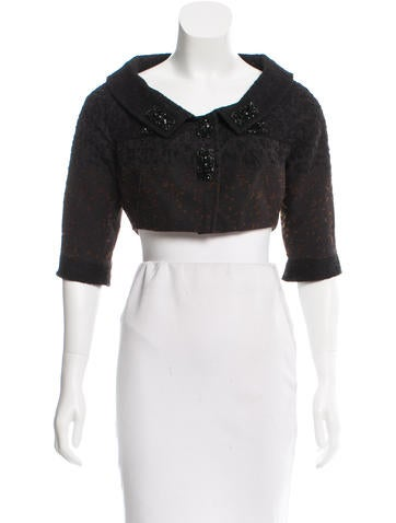Carolina Herrera Wool Embellished Bolero None