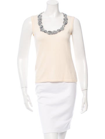 Carolina Herrera Scoop Neck Wool Top None