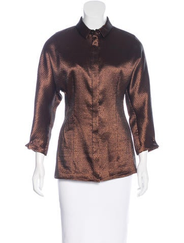 Carolina Herrera Metallic Button-Up Top None