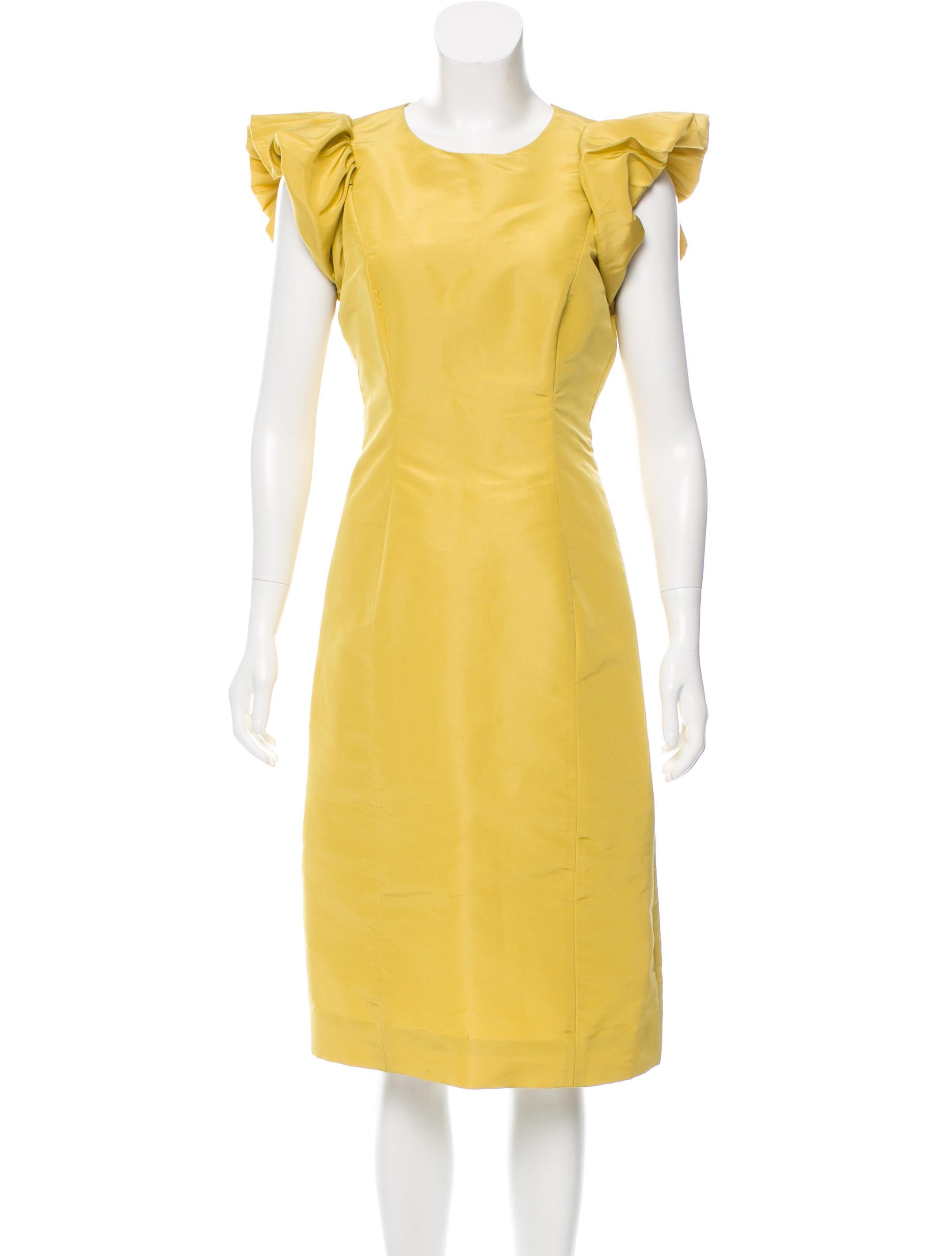 carolina herrera sleeve midi dress clothing