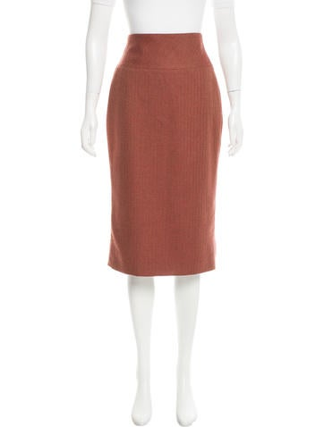 Carolina Herrera Wool Herringbone Skirt None