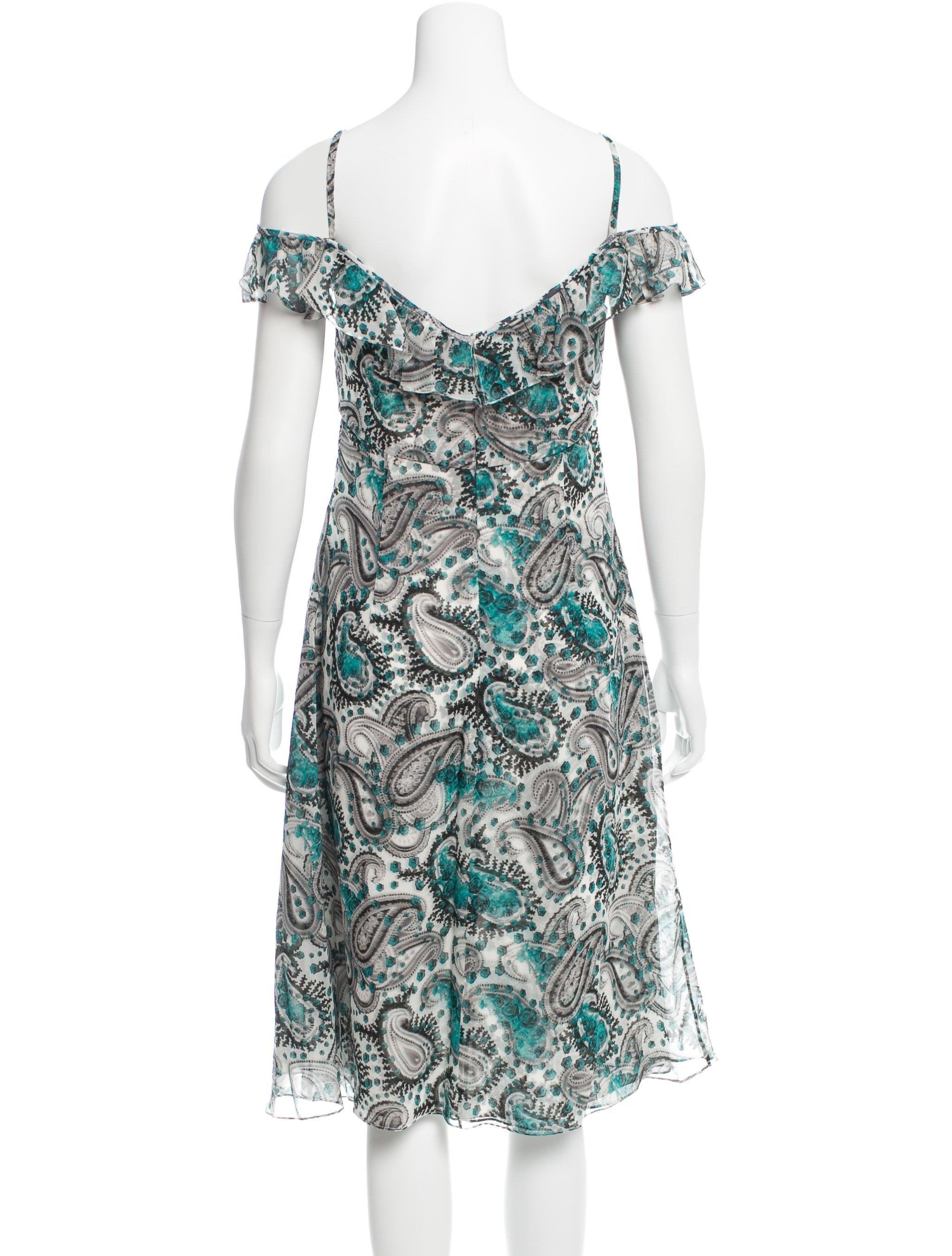 carolina herrera ruffle trimmed silk dress clothing