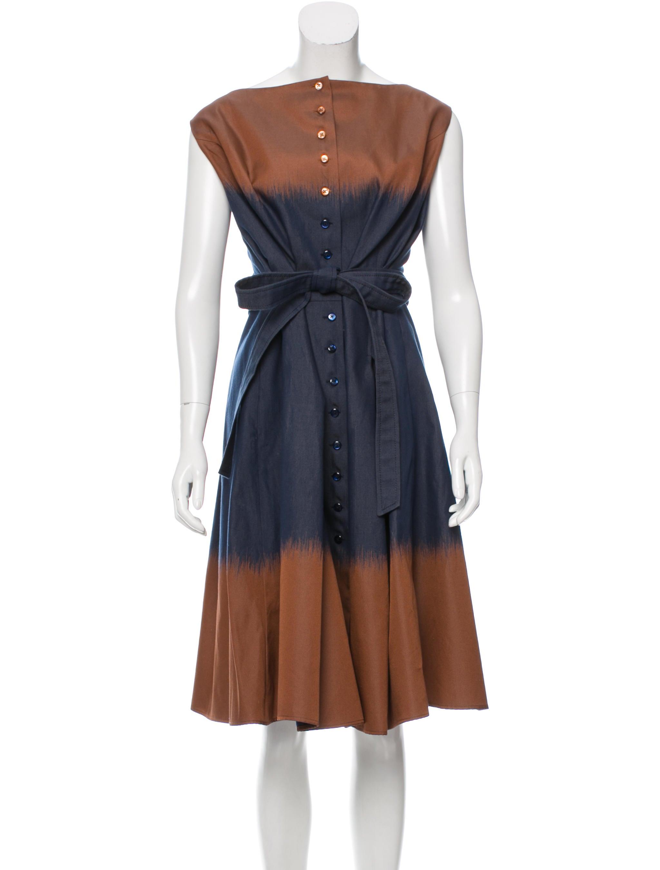 carolina herrera colorblock midi dress clothing