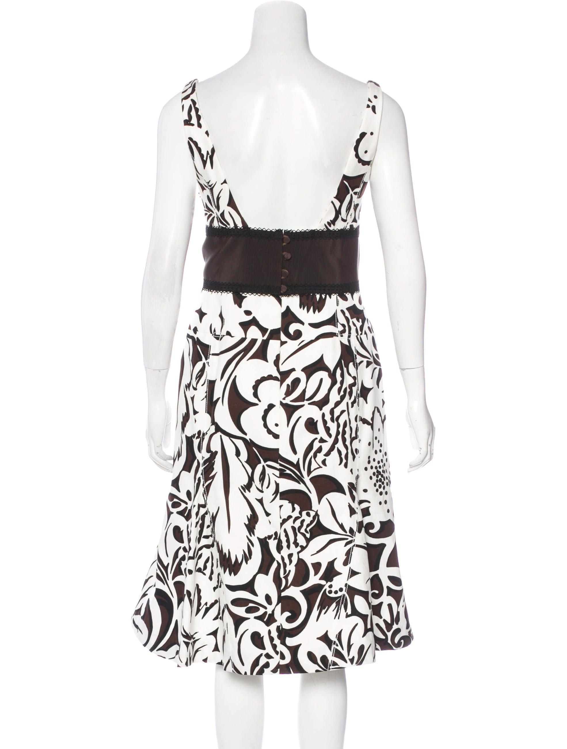 carolina herrera flounced floral print dress clothing