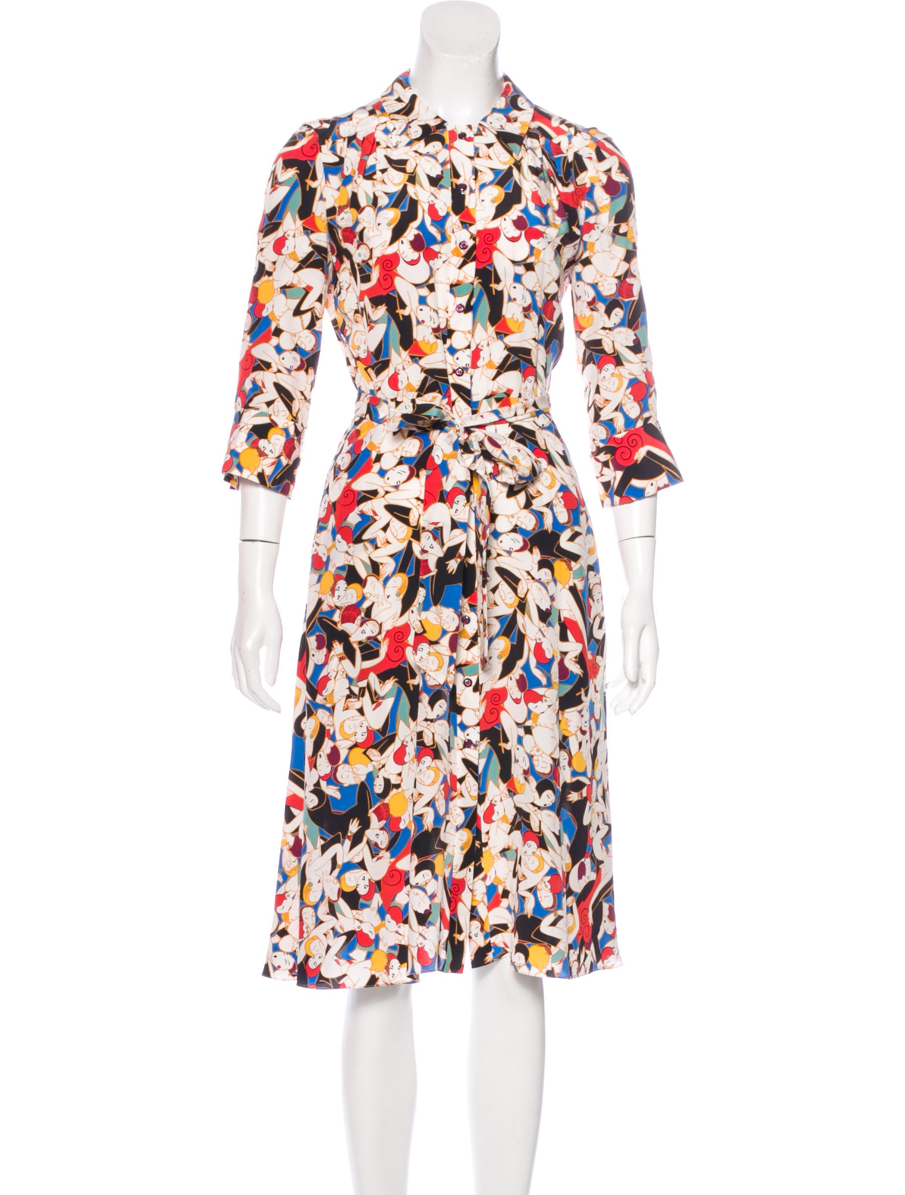 carolina herrera silk printed dress clothing cao29419