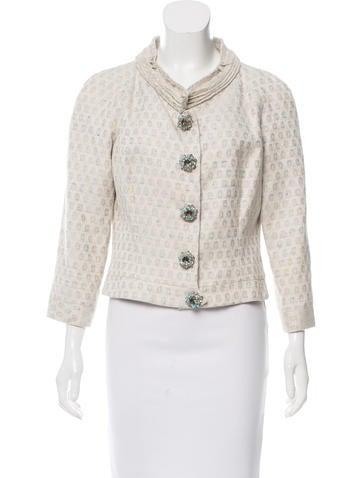 Carolina Herrera Silk-Blend Embellished Jacket None