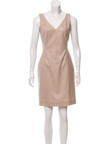 Carolina Herrera Virgin Wool V-Neck Dress None