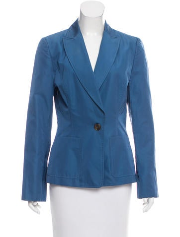 Carolina Herrera Silk-Blend Button-Up Blazer None