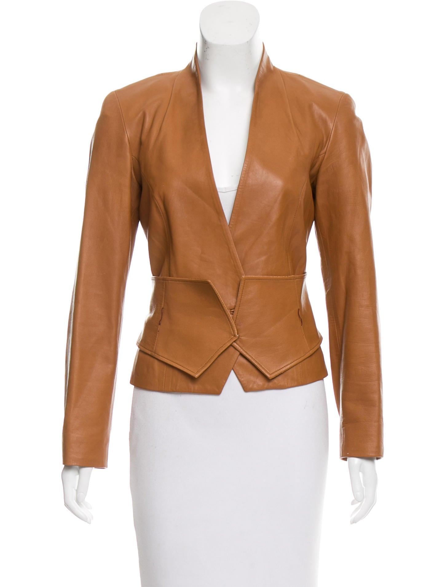 carolina herrera leather belted jacket clothing
