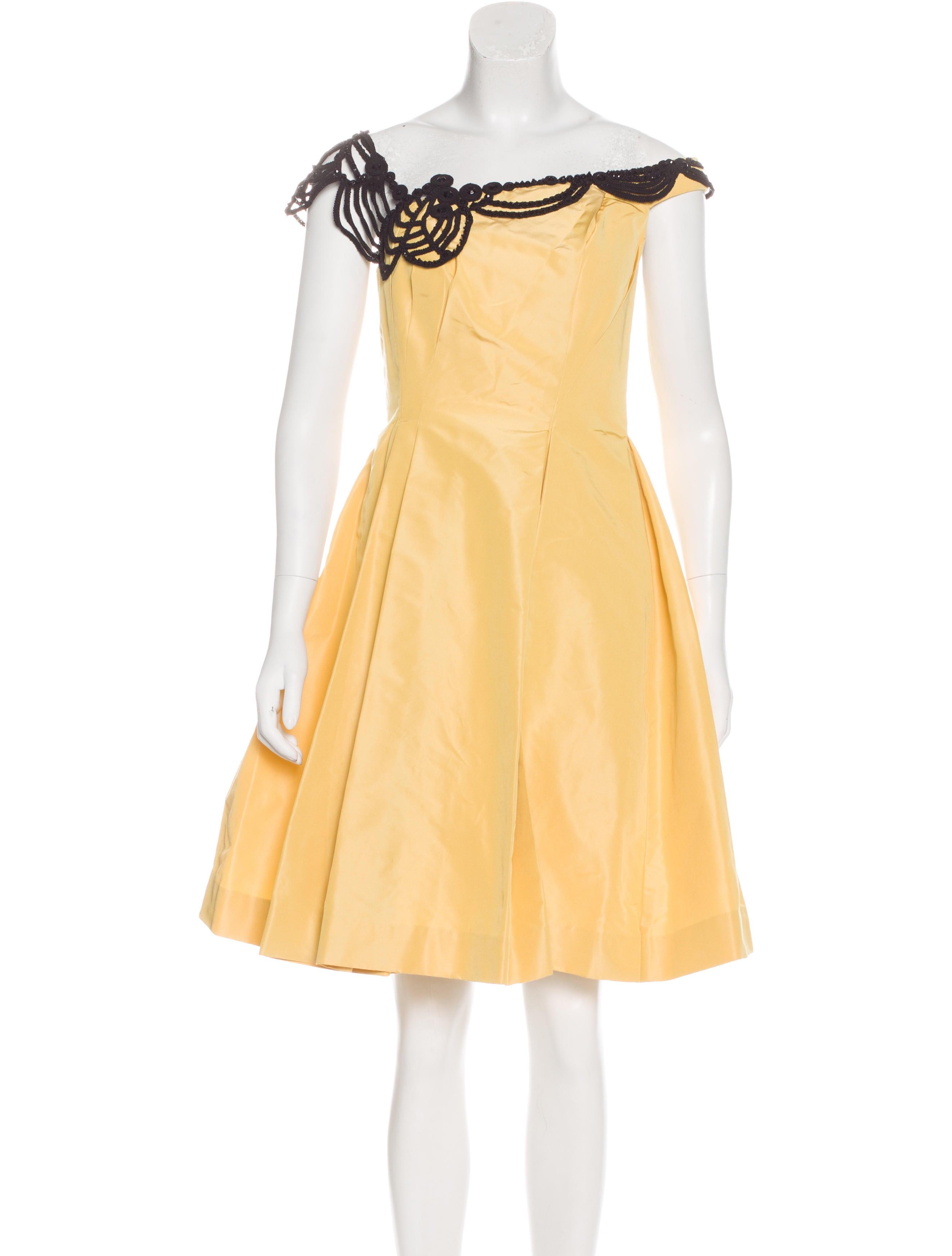 carolina herrera bead embellished silk dress clothing
