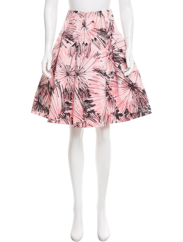 carolina herrera printed a line skirt clothing