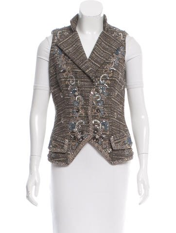 Carolina Herrera Tweed Vest None