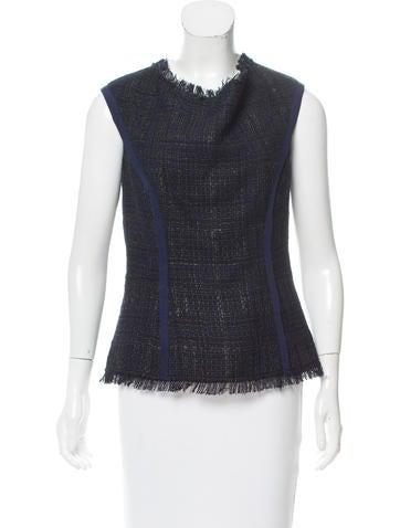 Carolina Herrera Fringe-Trimmed Wool Top None