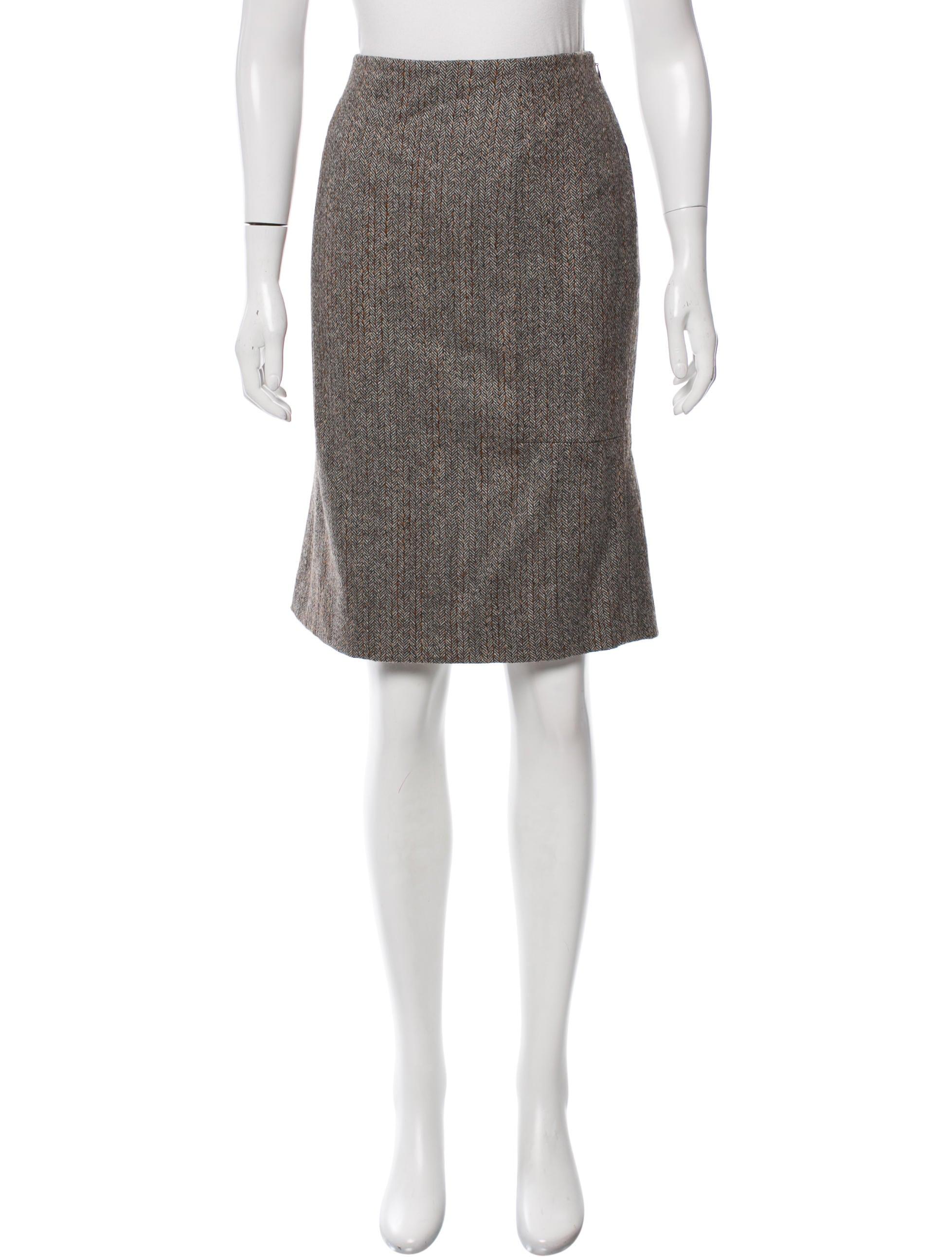 carolina herrera herringbone patterned pencil skirt
