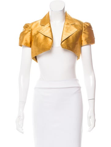 Carolina Herrera Metallic Notch-Lapel Bolero None