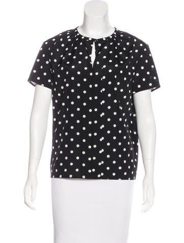 Carolina Herrera Silk-Blend Polka Dot Top None
