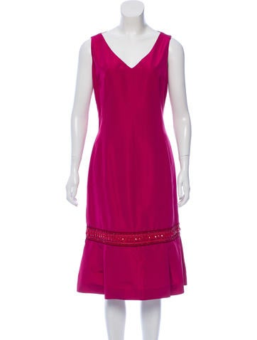 Carolina Herrera Embellished Silk-Blend Dress None