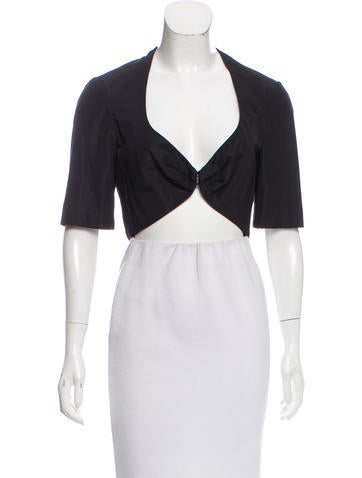 Carolina Herrera Silk-Blend Short Sleeve Shrug None