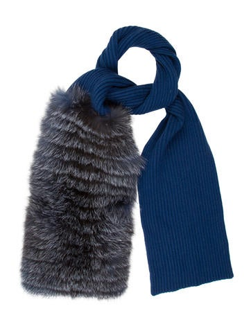 Carolina Herrera 2015 Fox Fur-Trimmed Cashmere Scarf w/ Tags None