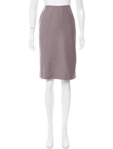 Carolina Herrera Pinstripe Wool Skirt None