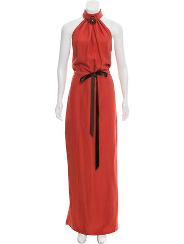 Carolina Herrera Silk & Wool Evening Dress None