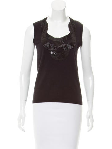 Carolina Herrera Sleeveless Embellished Wool Top None