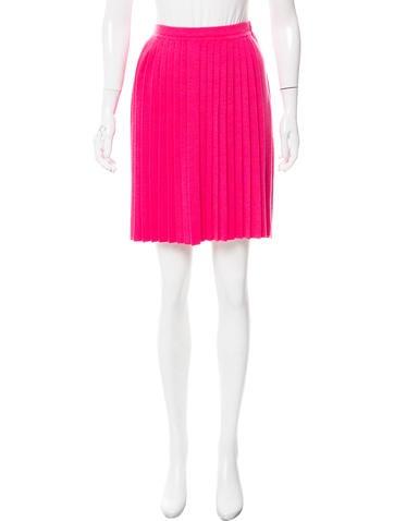 Carolina Herrera Pleated Virgin Wool Skirt None