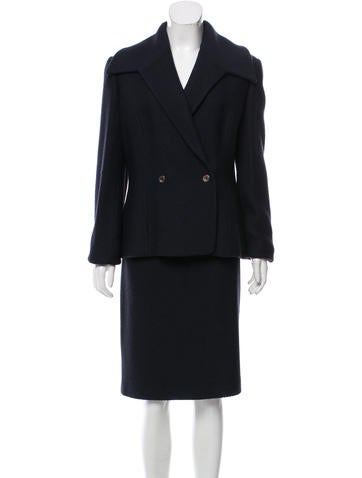 Carolina Herrera Double-Breasted Wool Skirt Suit None