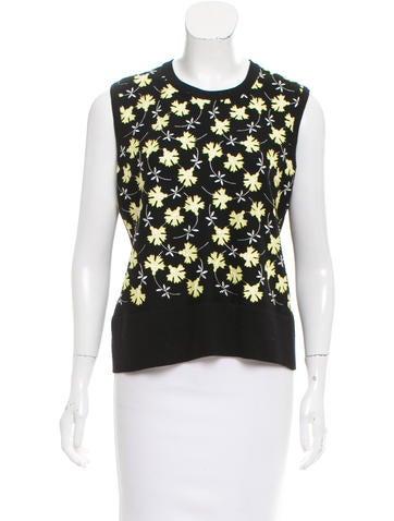 Carolina Herrera Floral Appliqué-Accented Wool Top None