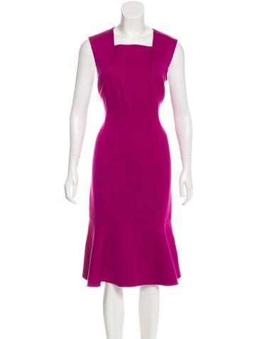 Carolina Herrera Wool Flounce Dress None