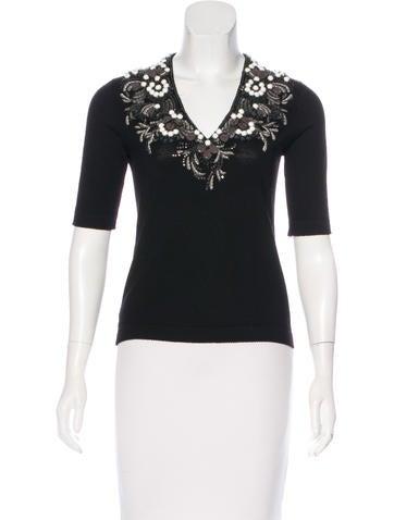 Carolina Herrera Embellished Wool Top None