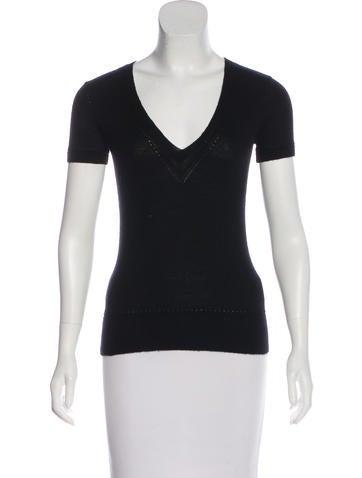 Carolina Herrera Short Sleeve Knit Sweater None