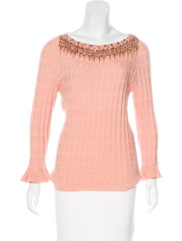 Carolina Herrera Embellished Cashmere & Silk Top None