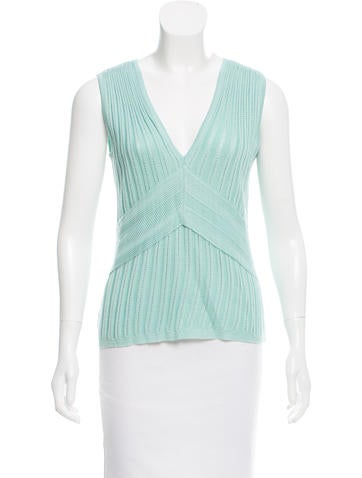 Carolina Herrera Sleeveless Open Knit Top None