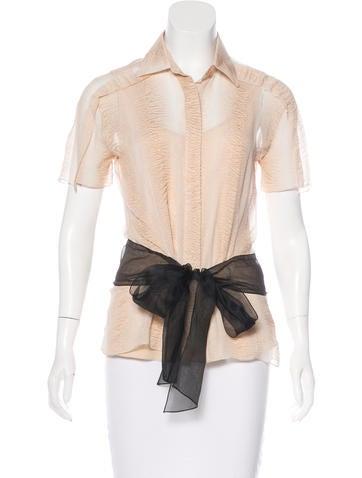 Carolina Herrera Short Sleeve Button-Up Top None