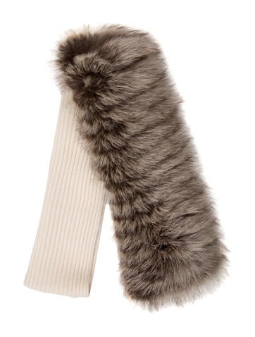 Carolina Herrera Cashmere & Fox Fur Scarf w/ Tags None