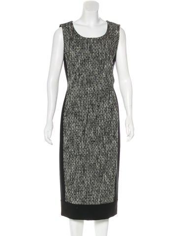 Carolina Herrera Sleeveless Tweed-Paneled Dress None