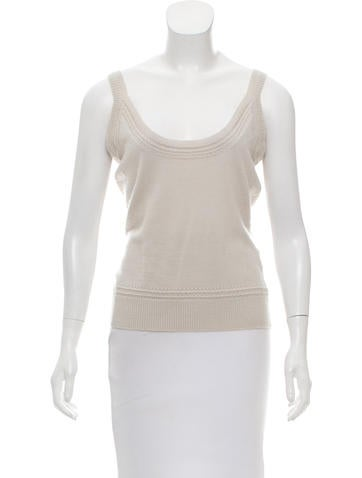 Carolina Herrera Sleeveless Scoop Neck Sweater None