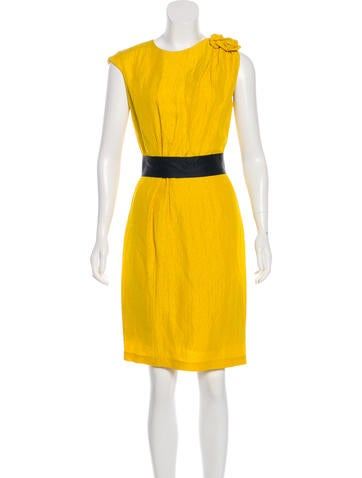 Carolina Herrera Linen Sleeveless Knee-Length Dress None