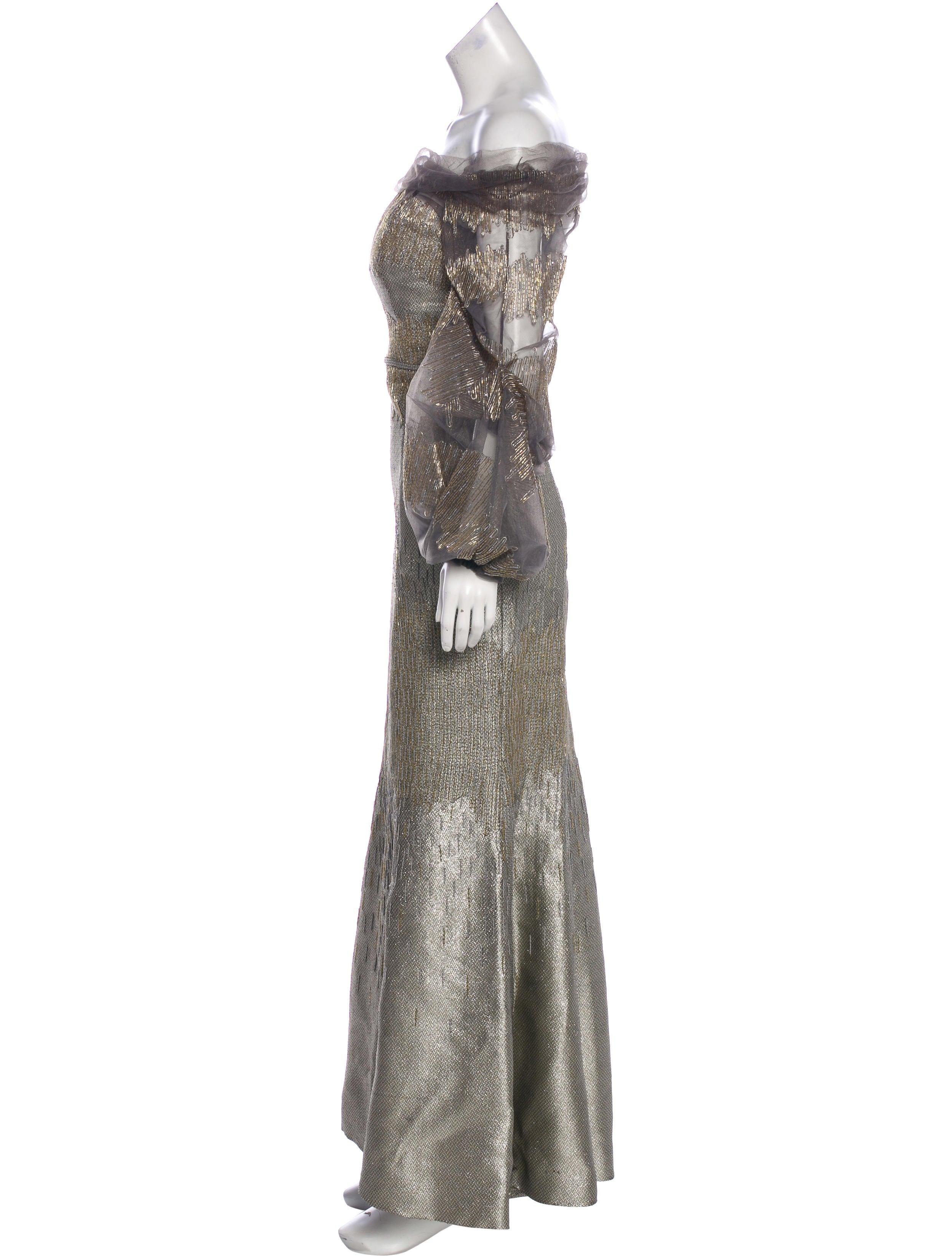 Carolina Herrera Embellished Off-The-Shoulder Evening Dress ...