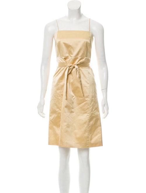 Carolina Herrera Satin Mini Dress Gold