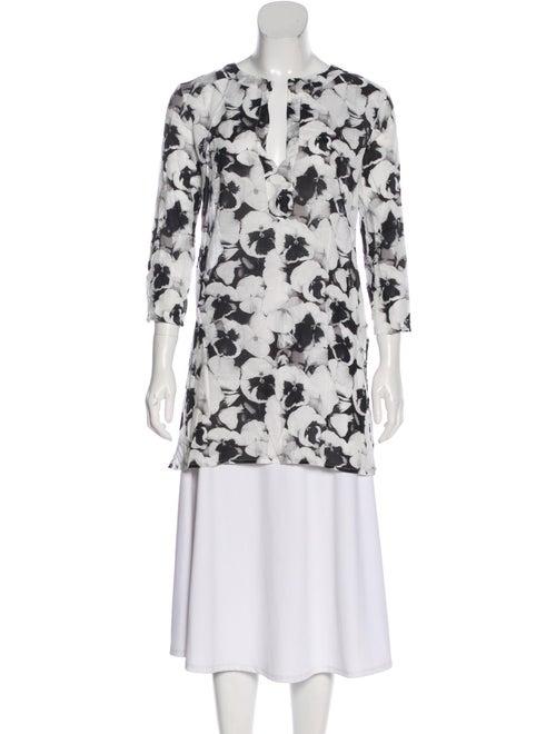 Carolina Herrera Floral Silk Blouse White