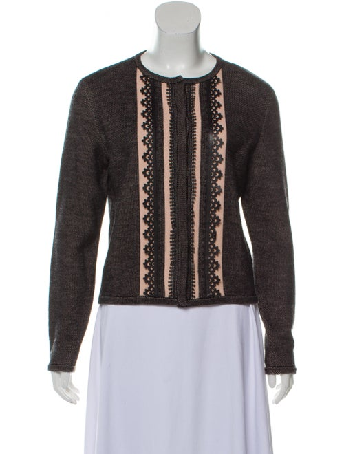 Carolina Herrera Leather-Trimmed Virgin Wool Cardi