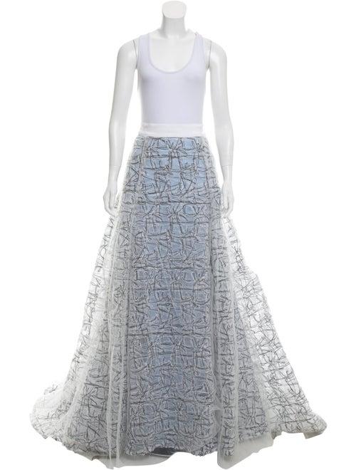 Carolina Herrera Embroidered Evening Skirt blue
