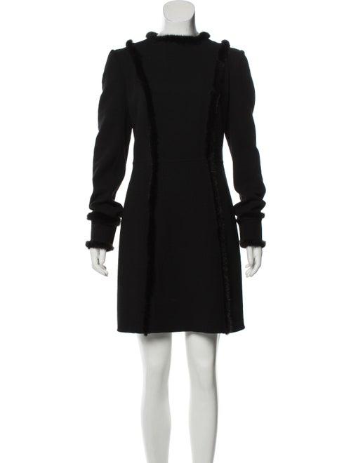 Carolina Herrera Fur-Trimmed Mini Dress Black